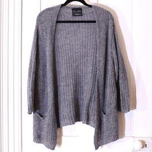 Zara Light Gray Open Front Loose Knit Cardigan